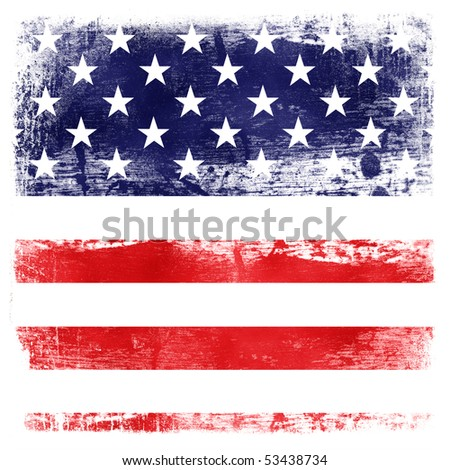 USA flag theme background isolated on white - stock photo