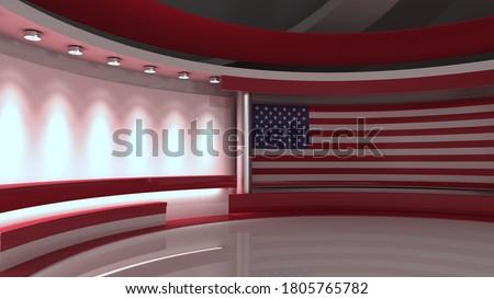 USA flag. TV studio. USA flag studio. USA flag background. Background for usa electoral programs. News studio. Elections media. 3d render. 3d