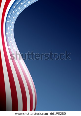 Usa flag wave over blue background. Illustration