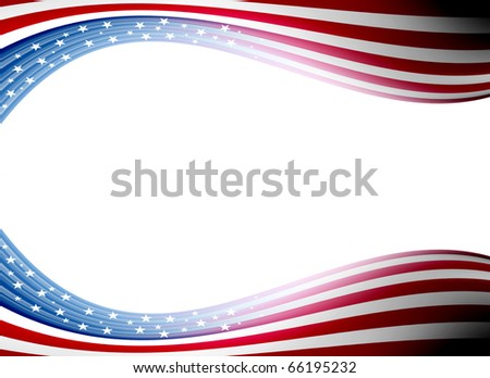 Usa flag waveswith  space for insert text or design. Illustration