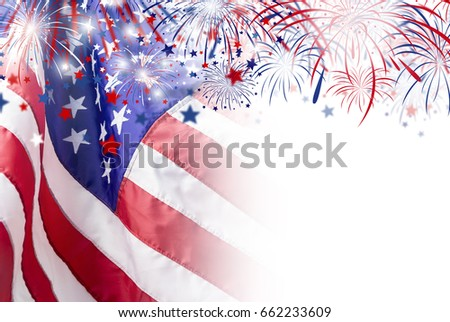 USA flag with firework background for 4 july independence day Stock photo ©
