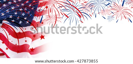 USA flag with fireworks on white background #427873855
