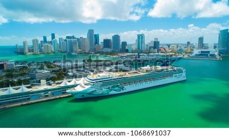 USA. FLORIDA. MIAMI BEACH. APRIL, 2018: Cruise ship entrance to Atlantic Ocean, from Miami port.    #1068691037
