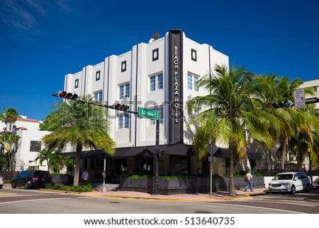 usa florida miami november 10 2016 renovated hotel in art deco