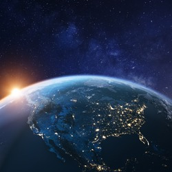 USA from space at night with city lights showing American cities in United States, Mexico and Canada, global overview of North America, 3d rendering of planet Earth, elements from NASA