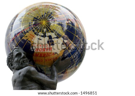 USA Globe - Atlas holding America's weight - Reflections on a semi-precious stones globe.