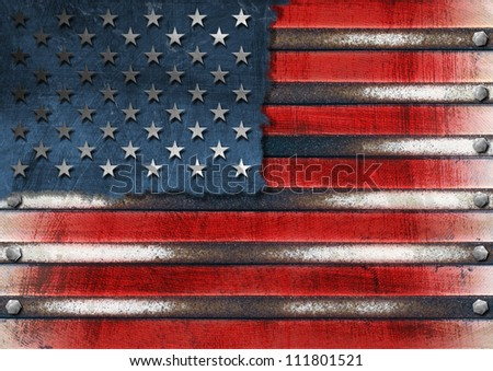 USA Grunge Metal Flag Usa grungy metal flag with bolts heads