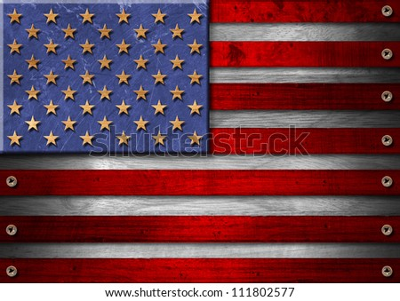 USA Grunge Wood Flag Usa grungy wooden flag with the heads of screws