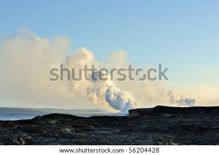 USA, Hawaii, Kilauea volcano. Lava tube in the sea.