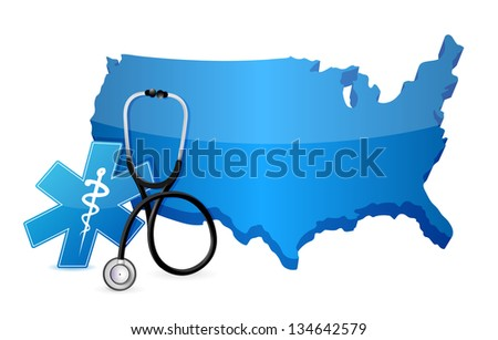 USA healthcare concept with a Stethoscope illustration design over white