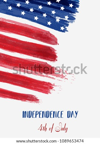 USA Independence day background. Happy 4th of July. Abstract grunge brushed flag with text. Template for banner, greeting card, invitation, poster, flyer, etc. #1089653474
