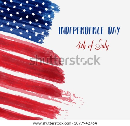 USA Independence day background. Happy 4th of July. Vector abstract grunge brushed flag with text. Template for banner, greeting card, invitation, poster, flyer, etc. #1077942764