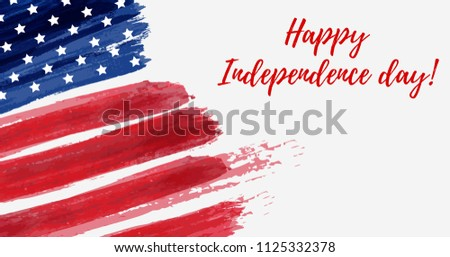USA Independence day background. Happy 4th of July. Vector abstract grunge flag with text. Template for horizontal banner, greeting card, invitation, poster, flyer, etc. #1125332378