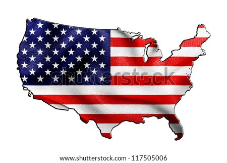 USA map and flag against white background