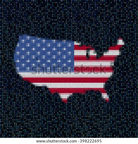 USA map flag on hex code illustration