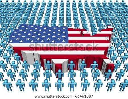 USA map flag surrounded by many abstract people illustration - stock photo