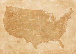 Usa map on brown paper. Vintage map