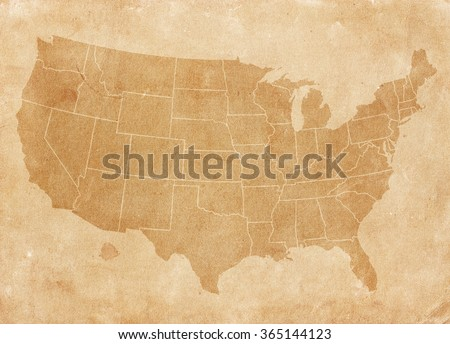 Usa map on brown paper. Vintage map #365144123