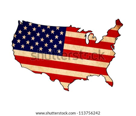 USA map on USA flag drawing ,grunge and retro flag series