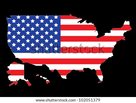 USA map outline with United States flag illustration