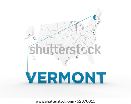 Map Of Vermont. USA Map pointing Vermont