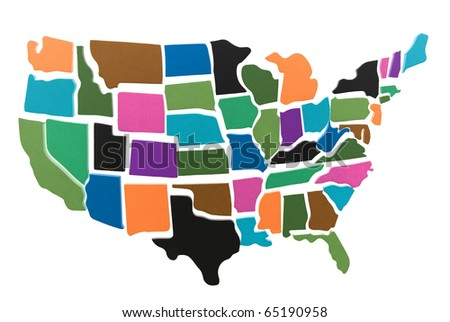 USA map puzzle outline over a white background
