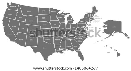 USA map. United States of America poster with state names. Geographic american maps including Alaska and Hawaii. USA geography, geography mapping illustration