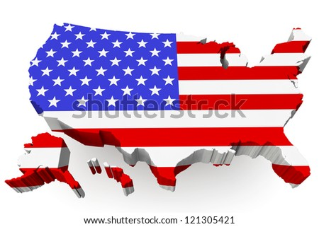 USA map with USA flag on a white background