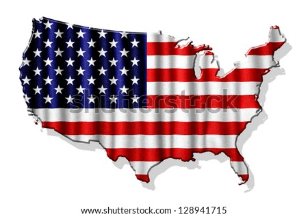 USA map with waving flag isolated on white background