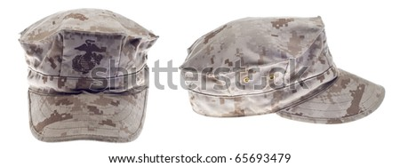 USA Marine Corps Military Hat from Two Angles.  Isolated on White with a Clipping Path.