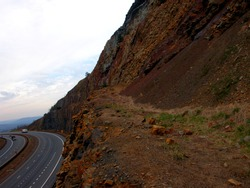 USA, Maryland, Washington County, Sideling Hill, syncline, metamorphic layers, Allegheny Mountains, Appalachian Mountains, Interstate 68