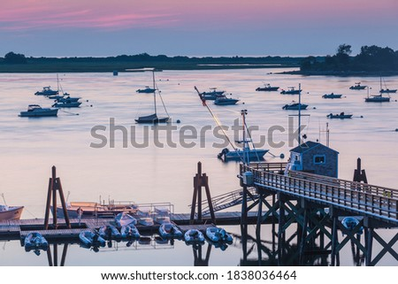 USA, Massachusetts, Ipswich. Sunrise over Great Neck Stock fotó ©