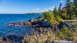 USA, Michigan. Historic lighthouse at Eagle Harbor on the Keweenaw peninsula of Lake Superior.