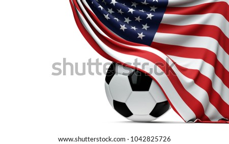 USA national flag draped over a soccer football ball. 3D Rendering