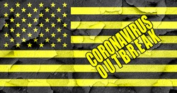 USA national flag in yellow and black quarantine colors with Coronavirus Outbreak inscription text over the banner. United States of America Covid-10 lockdown sign.