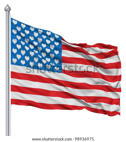USA national flag waving in the wind with hearts instead of stars - stock photo