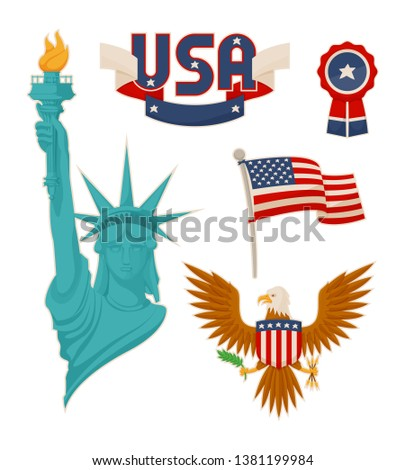 Usa national symbolisms color raster illustration statue of liberty flag image near eagle with shield bundle stripes and ribbon badge symbols