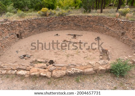 USA, New Mexico. Bandelier National Monument, Remains of Big Kiva, a room used for meetings, built by Ancient Pueblo people in Frijoles Canyon. Stock photo ©