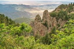 USA, New Mexico, Sandia Mountains. Crest Trail mountain view toward Albuquerque.