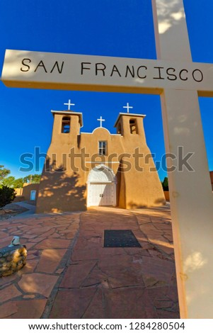 USA, New Mexico, Taos. San Francisco de Asis adobe church in early morning sun. Rancho de Taos Credit as: Fred Lord /Jaynes Gallery /DanitaDelimont.com