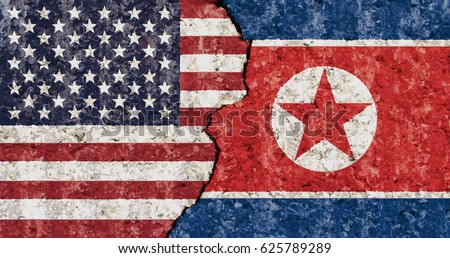 USA North Korea flag cracked wall background