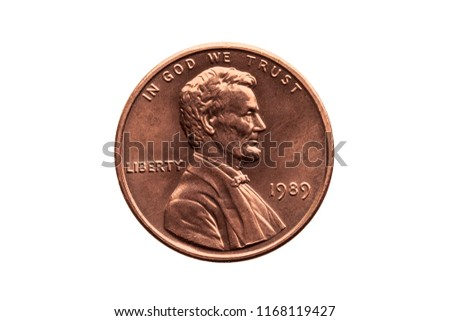 USA one cent penny coin with a portrait image of Abraham Lincoln cut out and isolated on a white background