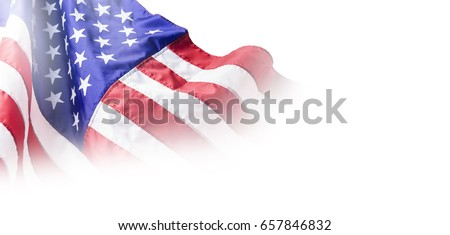 USA or american flag isolated on white background with copy space #657846832