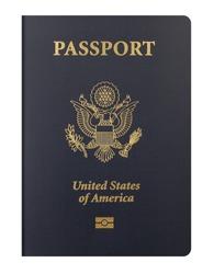 USA passport on white background