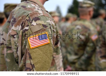 USA patch flag on soldiers arm. US troops Photo stock ©