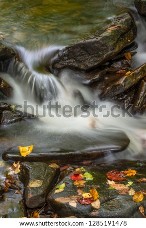 USA, Pennsylvania, Ricketts Glen State Park. Detail of unnamed waterfall with autumn leaves