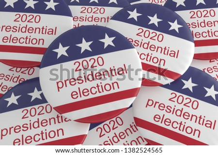USA Politics Election News Badges: Pile of 2020 Presidential Election Buttons With US Flag, 3d illustration