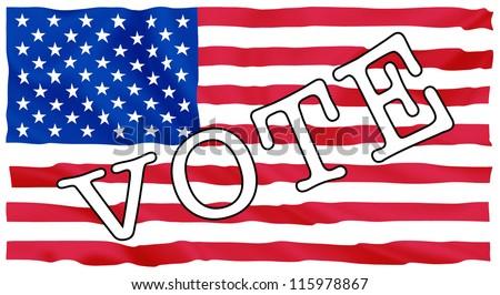 Usa president election, sign vote on USA flag illustration