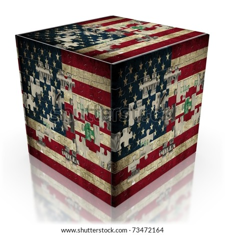 USA puzzle flag on cube