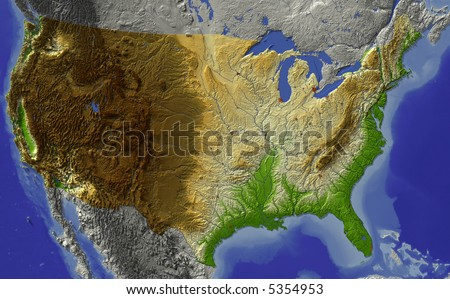 USA. Relief map of conterminous USA.  Shows major cities and rivers, surrounding territory greyed out.  Colored according to terrain height.